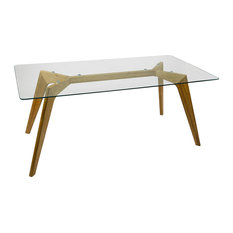 Natural Oak and Glass Top Rectangular Dining Table