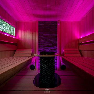 Backyard Wellness Area with Outdoor Sauna