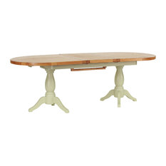 Natural Wood Twin Pedestal Extendable Dining Table, French Grey