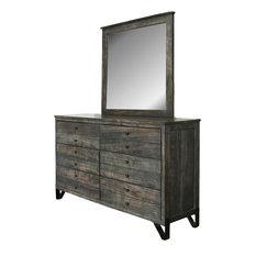 Sawyer Parota Wood 6-Drawer Dresser And Mirror