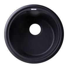 """ALFI AB1717UM-BLA Black 17"""" Undermount Round Granite Composite Kitchen Prep Sink"""