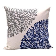 Blue and Grey Geometric Cushion, 40x40 Cm