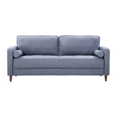 Divano Roma Furniture - Mid Century Modern Linen Fabric Living Room Sofa Dark Blue -  sc 1 st  Houzz : houzz living rooms with sectionals - Sectionals, Sofas & Couches