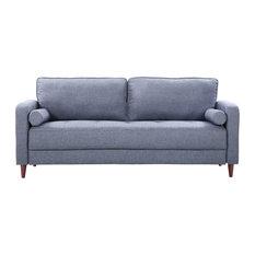 Divano Roma Furniture Mid Century Modern Linen Fabric Living Room Sofa Dark Blue