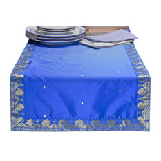 Blue - Hand Crafted Table Runner (India) - 18 X 108 Inches