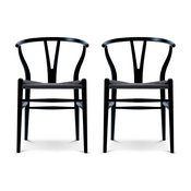 Designer Wood Dining Chair Chairs ArmChair With Open Y Back For Kitchen Set of 2