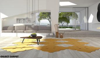 RUGX Configurator - goldener Teppich mit Musterschnitt