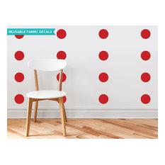 "Polka Dot Fabric Wall Decals, Set of 48, 4"" Polka Dots, Red"