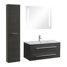 Hawaii 4-Piece Wall-Mounted Bathroom Vanity Unit, 100 cm