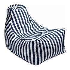 Juniper Outdoor Bean Bag Chair, Navy Stripes