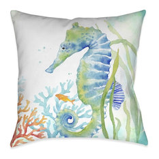 Laural Home Sea Life Seahorse Indoor Decorative Pillow