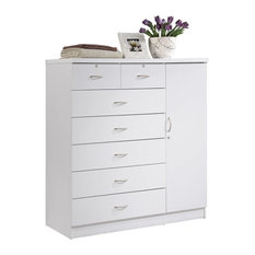 7-Drawer Chest With Locks On 2-Top Drawers Plus 1-Door, White