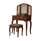 Queen Anne Style Vanity Set Bathroom Makeup Table Stool