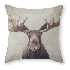 """Moose Throw Pillow Cover, 16""""x16"""" With Pillow Insert"""
