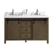 "Marsyas Veluti 60"" Rustic Brown Double Vanity, White Quartz Top, Sinks,no Mirror"