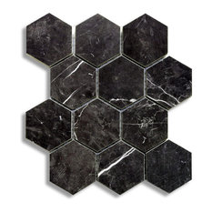 "Luxury Nero Marquina 9""x11"" 12 Dot Hexagon Mosaic"