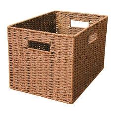 Straw Collection Basket Uncapped, Basket Wardrobe Finishing Box, Brown