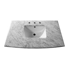 "36"" White Carrara Marble Counter Top With Rectanglar Sink"