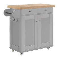Modern 2-Drawer 1-Cabinet Storage Trolley Cart, Oak Wooden Worktop, Grey