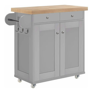Modern 2-Drawer 1-Cabinet Storage Trolley Cart, Oak Wooden Worktop, Grey