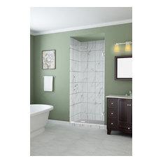 """Kinkade Frameless Hinged Shower Door, Stainless Steel, 28.75-29.25""""x72"""""""