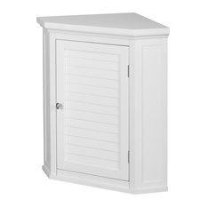 Elegant Home Fashions Slone 1 Door Corner Wall Cabinet White