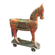 Mogul interior - Consigned Horse On Wheels Solid Rustic Wood Handmade Sculpture Figurine - Decorative Objects And Figurines