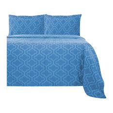 Extra Soft Reversible Duvet Cover Set, Light Blue Trellis, Full/Queen