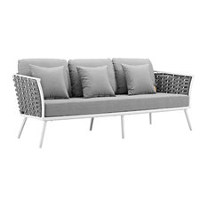 Stance Outdoor Patio Aluminum Sofa White Gray