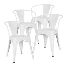 Poly and Bark Trattoria Arm Chair, Set of 4, White