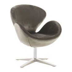 GDFStudio   Manhatten New Velvet Modern Swivel Chair, Gray   Armchairs And  Accent Chairs