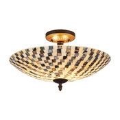 Calder 2-Light Semi-flush Ceiling Fixture, Dark Bronze