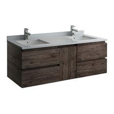 "Formosa Wall Hung Double Sink Modern Bathroom Cabinet, 58"""