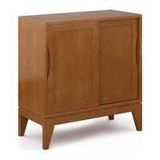 Mid Century Modern Storage Cabinet, Sliding Doors With Adjustable Shelves