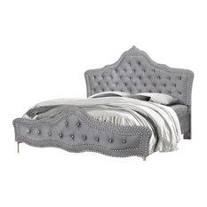 Eastern King/Queen/Full Panel Bed, Gray Velvet, Full