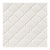 """Domino White Glossy Arabesque Mosaic, 10.88""""x11"""", Set of 10"""