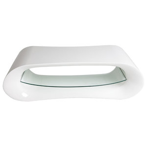 Glossy Resin Coffee Table, White