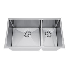 "31""x18"" Double Bowl 70/30 Undermount Stainless Steel Kitchen Sink, With Strainer"
