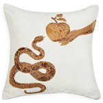 Jonathan Adler - Muse Snake and Apple Throw Pillow - Handcrafted intricate gold beadwork embroidered on chunky ivory linen, our Muse Pillows are the perfect mix of the decadence of Halston and the madness of Dali. Crafty, couture, and exotic, these pillows will remind your guests they're in the presence of an eccentric glamourpuss.