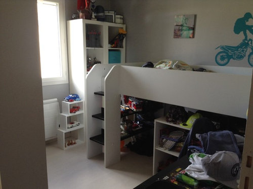 chambre de notre fille qui nous gne et qui pourrait faire pour notre garcon on a un lit surlev avec bureau intgr noir et blanc vendre du coup
