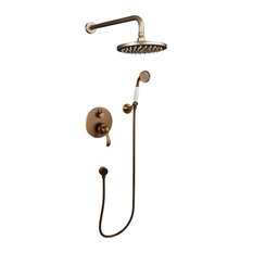 Retro Gold Round Shower Head With Mixer Tap and Hand Shower