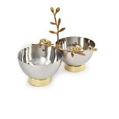Serene Spaces Living Orchid Stem Designed Twin Bowls With Gold Colored Base