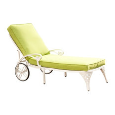 Home Styles Biscayne White Chaise Lounge Chair Green Apple Cushion