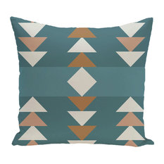 "Sagebrush Geometric Print Pillow, Aqua, 18""x18"""