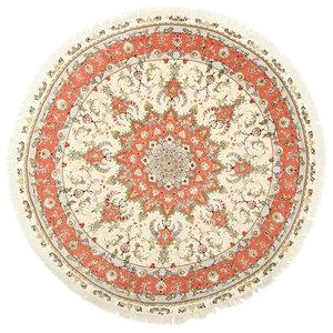 Tabriz Oriental Rug, Round Hand-Knotted Classic, 200x200 cm