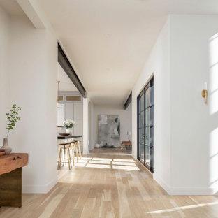 Inspiration för stora klassiska hallar, med vita väggar och ljust trägolv