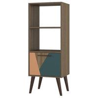 Manhattan Comfort Sami 2.0 2-Shelf Bookcase, Oak and Peach