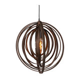 Modern Round Pendant Lamp Brown Wood - Arrange