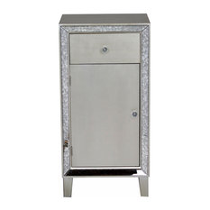 38' Accent Cabinet With A Drawer A Door And Antiqued Mirror Accents Champagne