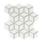 "10.5""x12.13"" Victorian Rhombus Mosaic Floor/Wall Tile, Matte White"